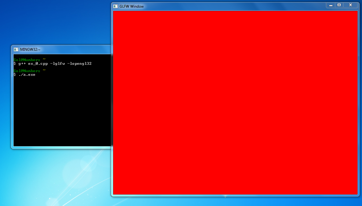 MinGW OpenGL window filled with red