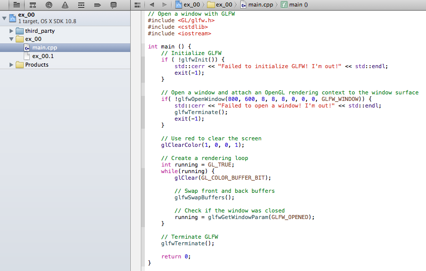 Xcode with the OpenGL C++ code