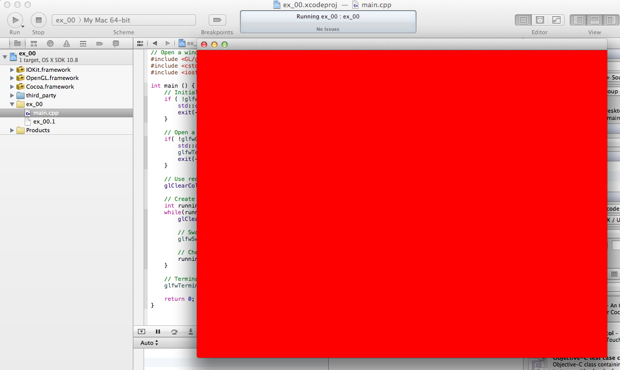OpenGL red window running in Xcode