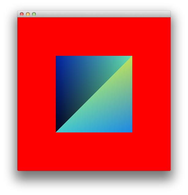 Square on a red background visible diagonal line
