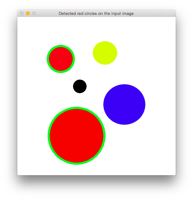 Outline of the detected circles