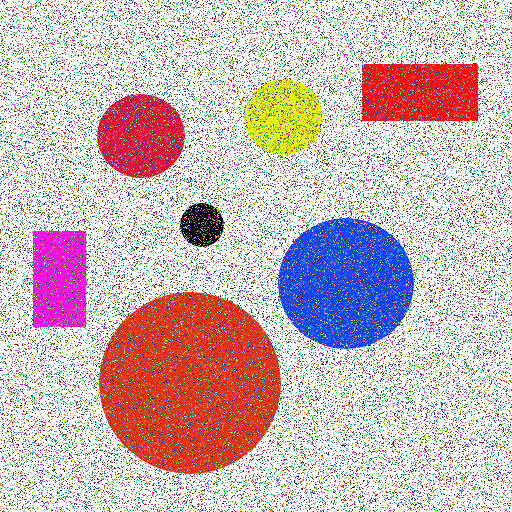 Circles and rectangles input image with noise