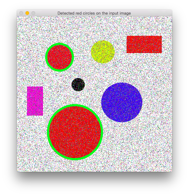 Circles and rectangles with noise median filter detected red circles