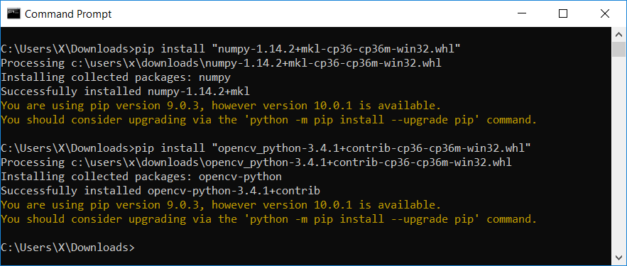 Install NumPy and OpenCV in Windows