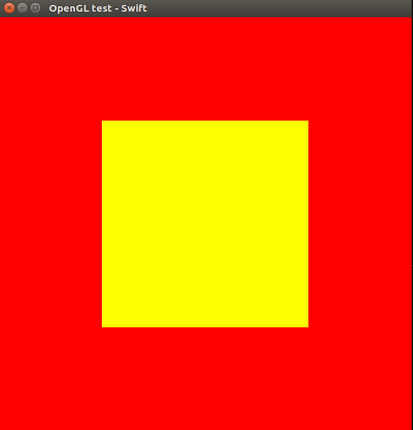 Ubuntu Linux Swift 3 and OpenGL with GLFW, yellow square on a red background