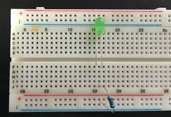 Breadboard with 220 ohm resistor