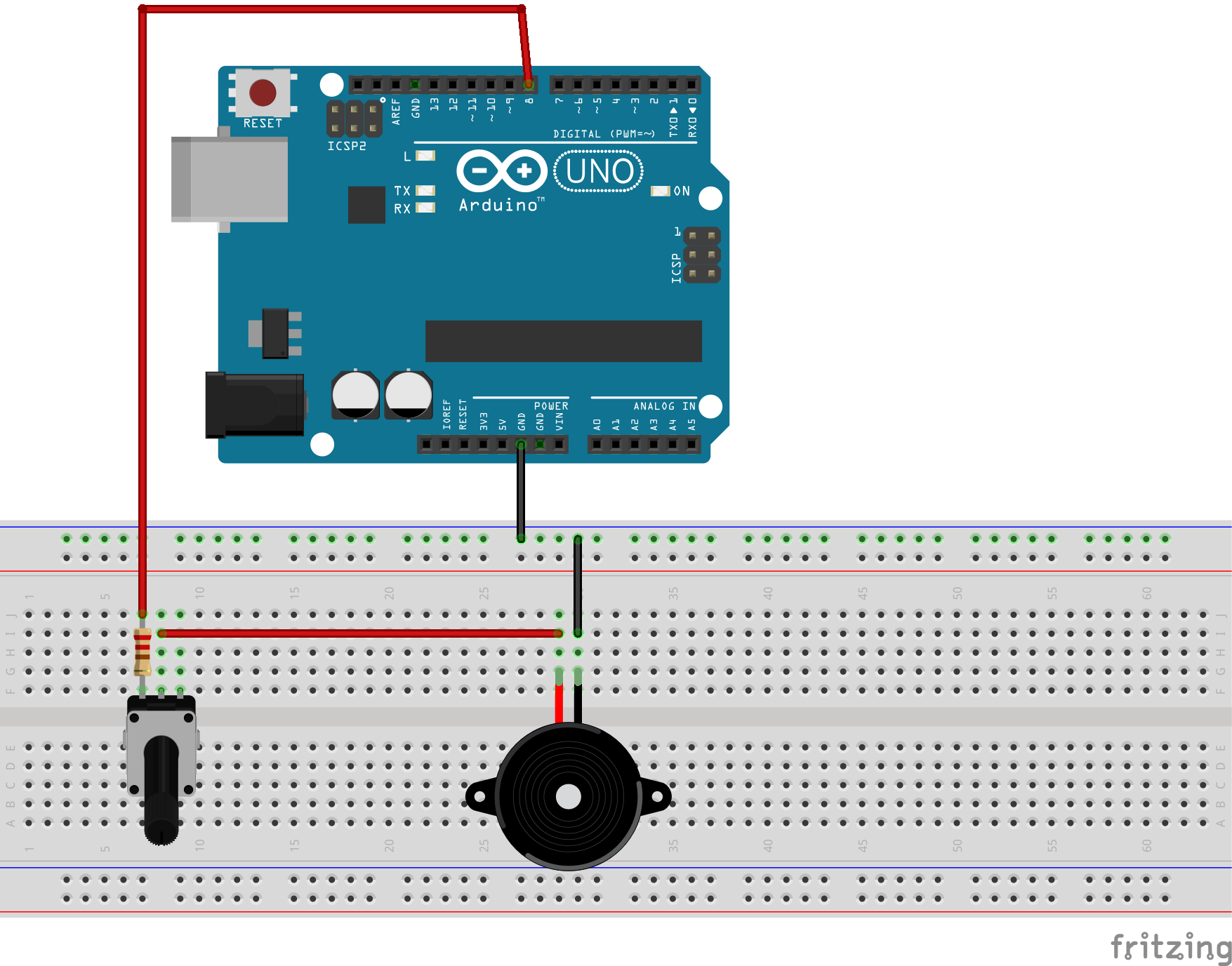 Arduino with passive buzzer and potentiometer volume control