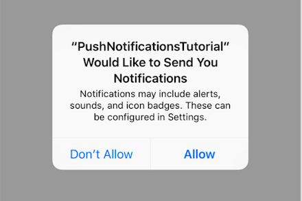 Allow notifications alert