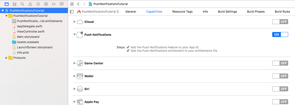 iOS project capabilities enable push notifications