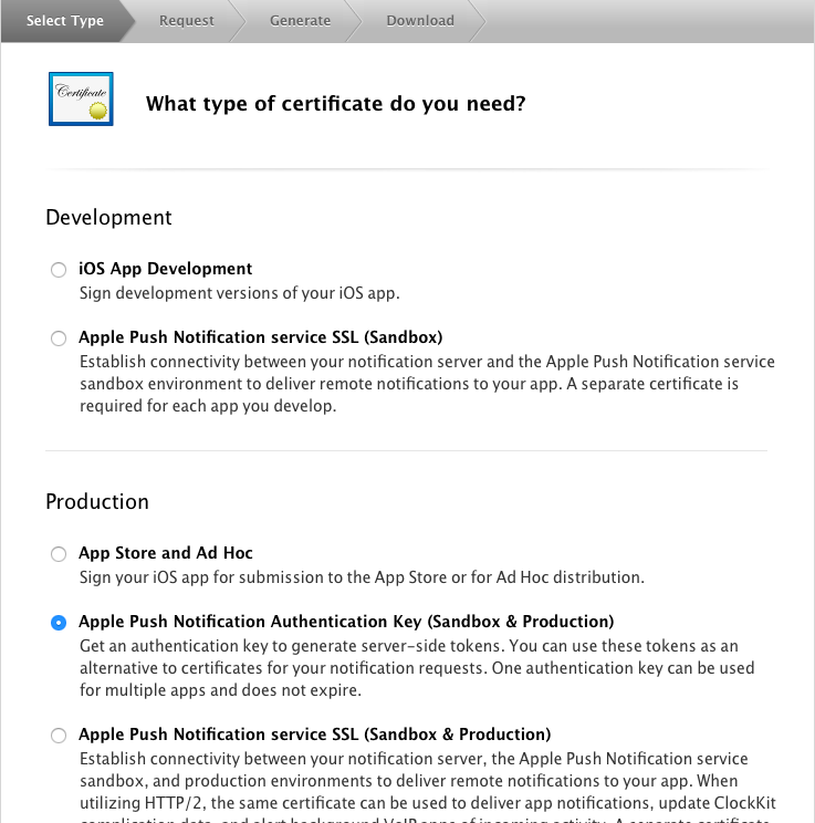 Select the type of certificate
