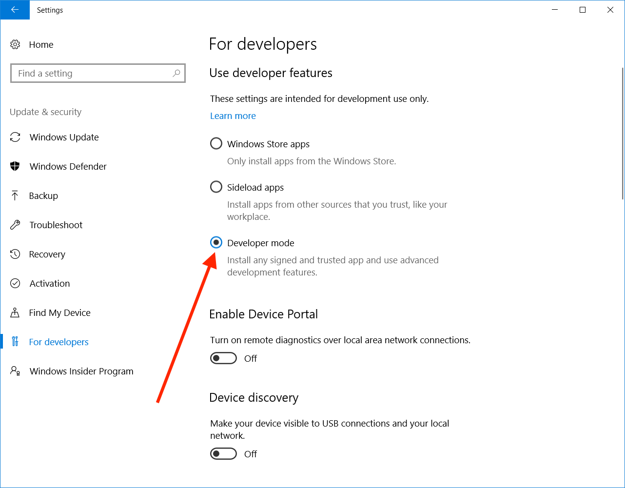 Windows 10 enable Developer Mode