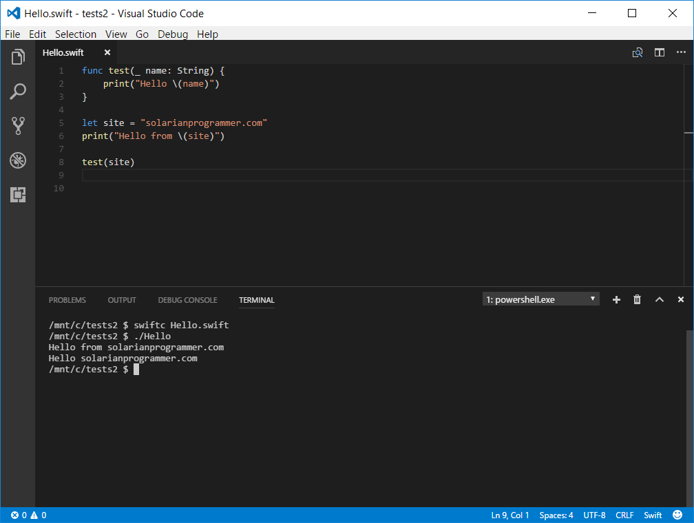 Editing and running Swift code in Visual Studio Code