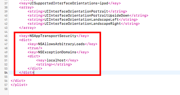 Let iOS send HTTP request to localhost