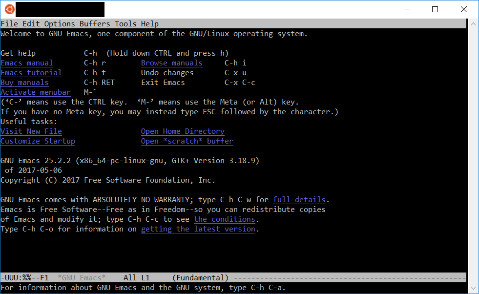 Emacs 25.2 in the WSL console