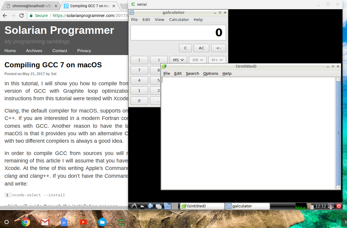 Chrome OS side by side with Crouton Ubuntu LXDE on Chromebook