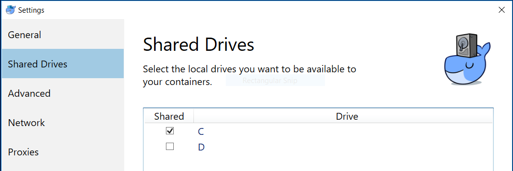 Sharing drive C with Docker on Windows 10