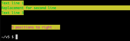Terminal writing lines of various colors using ANSI escape codes