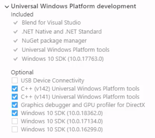 VS 2019 Universal Windows Platform development