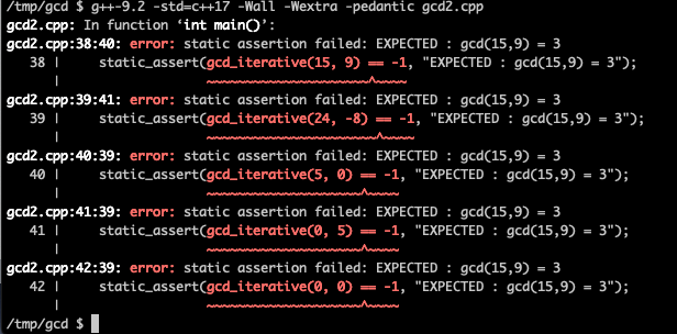 Compile errors for failing tests GCC 9 macOS